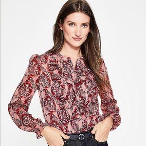 Boden Amalie floral ruffle front buttondown blouse